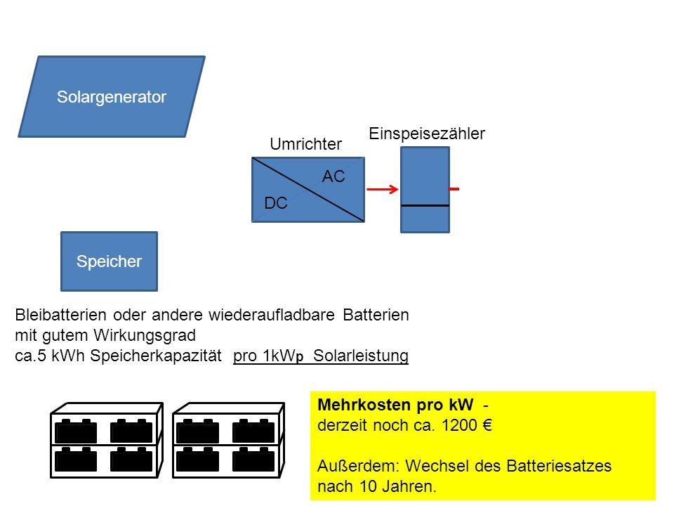 Speicher DC AC Solargenerator Umrichter Einspeisezähler Bleibatterien oder andere wiederaufladbare Batterien mit gutem Wirkungsgrad ca.5 kWh Speicherkapazität pro 1kW p Solarleistung Mehrkosten pro kW - derzeit noch ca.