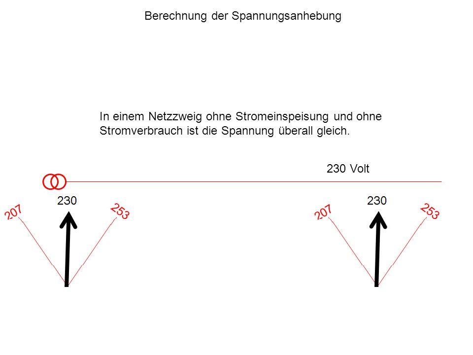 230 Volt Berechnung der Spannungsanhebung In einem Netzzweig ohne Stromeinspeisung und ohne Stromverbrauch ist die Spannung überall gleich.