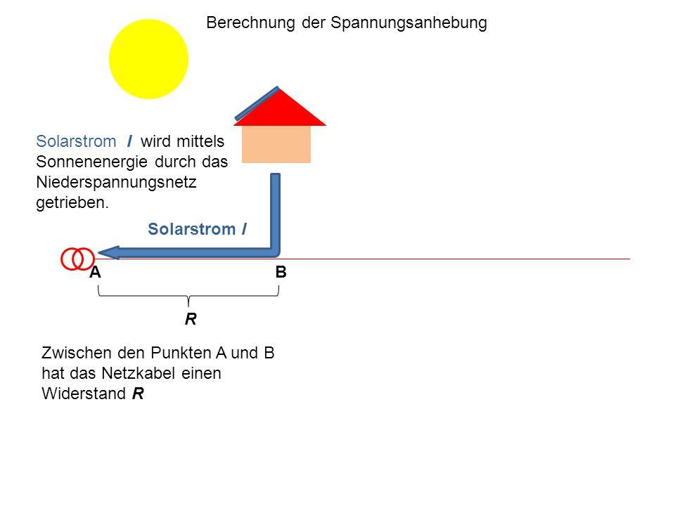 Zwischen den Punkten A und B hat das Netzkabel einen Widerstand R AB Berechnung der Spannungsanhebung R Solarstrom I wird mittels Sonnenenergie durch das Niederspannungsnetz getrieben.