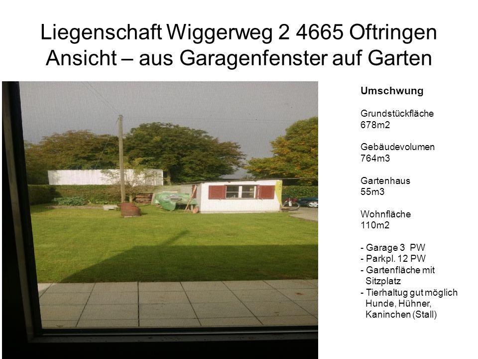 Liegenschaft Wiggerweg 2 4665 Oftringen Ansicht – aus Garagenfenster auf Garten Umschwung Grundstückfläche 678m2 Gebäudevolumen 764m3 Gartenhaus 55m3