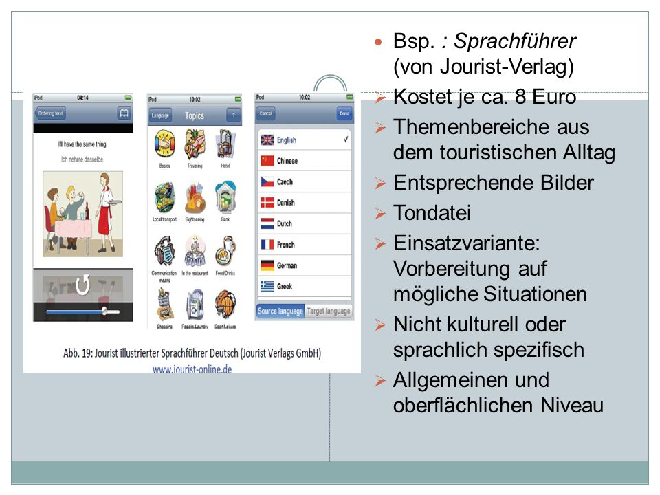 Bsp. : Sprachführer (von Jourist-Verlag)  Kostet je ca. 8 Euro  Themenbereiche aus dem touristischen Alltag  Entsprechende Bilder  Tondatei  Eins