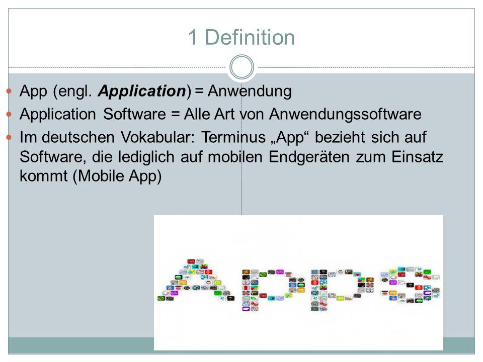 """1 Definition App (engl. Application) = Anwendung Application Software = Alle Art von Anwendungssoftware Im deutschen Vokabular: Terminus """"App"""" bezieht"""