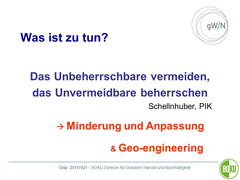 Graz 20111021 | BOKU Zentrum für Globalen Wandel und Nachhaltigkeit Was ist zu tun? Das Unbeherrschbare vermeiden, das Unvermeidbare beherrschen Schel
