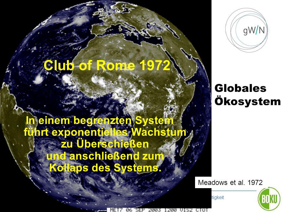 Graz 20111021 | BOKU Zentrum für Globalen Wandel und Nachhaltigkeit Club of Rome 1972 Meadows et al. 1972 In einem begrenzten System führt exponentiel