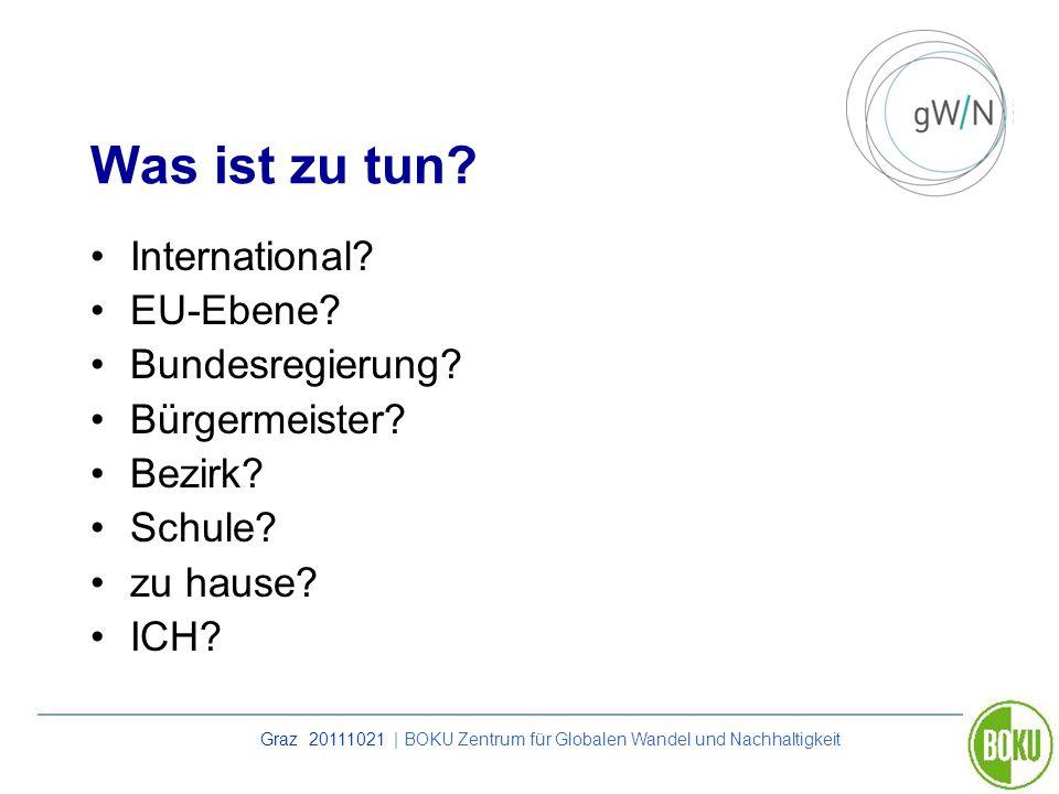 Graz 20111021 | BOKU Zentrum für Globalen Wandel und Nachhaltigkeit Was ist zu tun? International? EU-Ebene? Bundesregierung? Bürgermeister? Bezirk? S