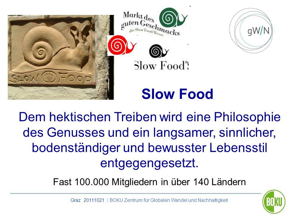 Graz 20111021 | BOKU Zentrum für Globalen Wandel und Nachhaltigkeit Slow Food Dem hektischen Treiben wird eine Philosophie des Genusses und ein langsa