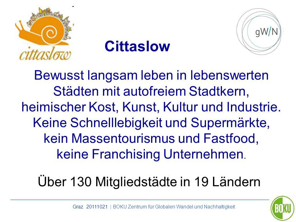 Graz 20111021 | BOKU Zentrum für Globalen Wandel und Nachhaltigkeit Cittaslow Bewusst langsam leben in lebenswerten Städten mit autofreiem Stadtkern,