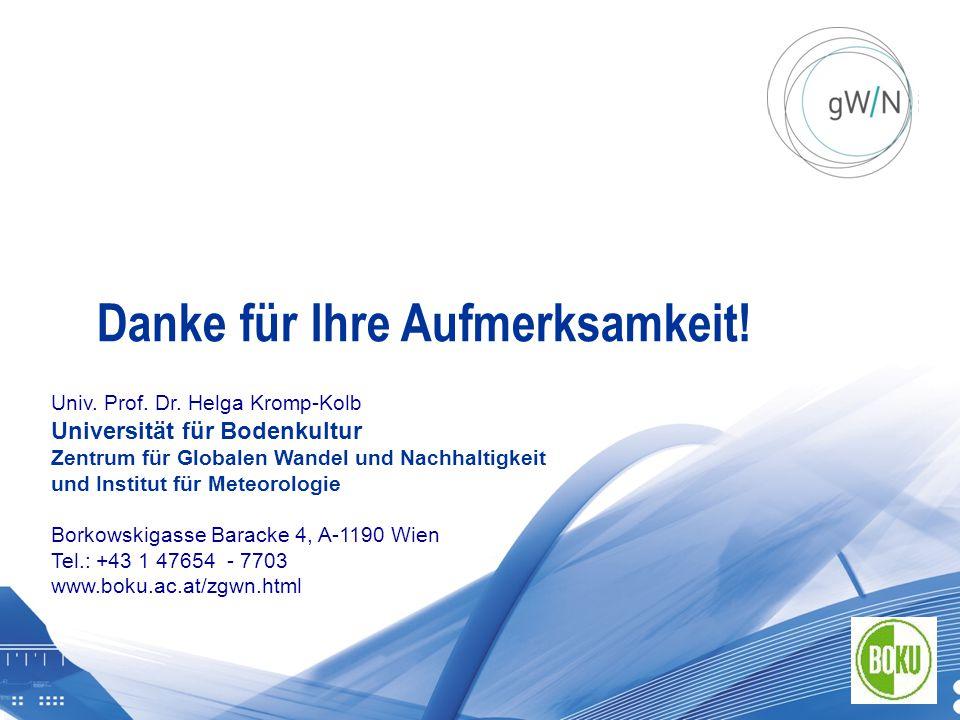 Graz 20111021 | BOKU Zentrum für Globalen Wandel und Nachhaltigkeit Univ. Prof. Dr. Helga Kromp-Kolb Universität für Bodenkultur Zentrum für Globalen