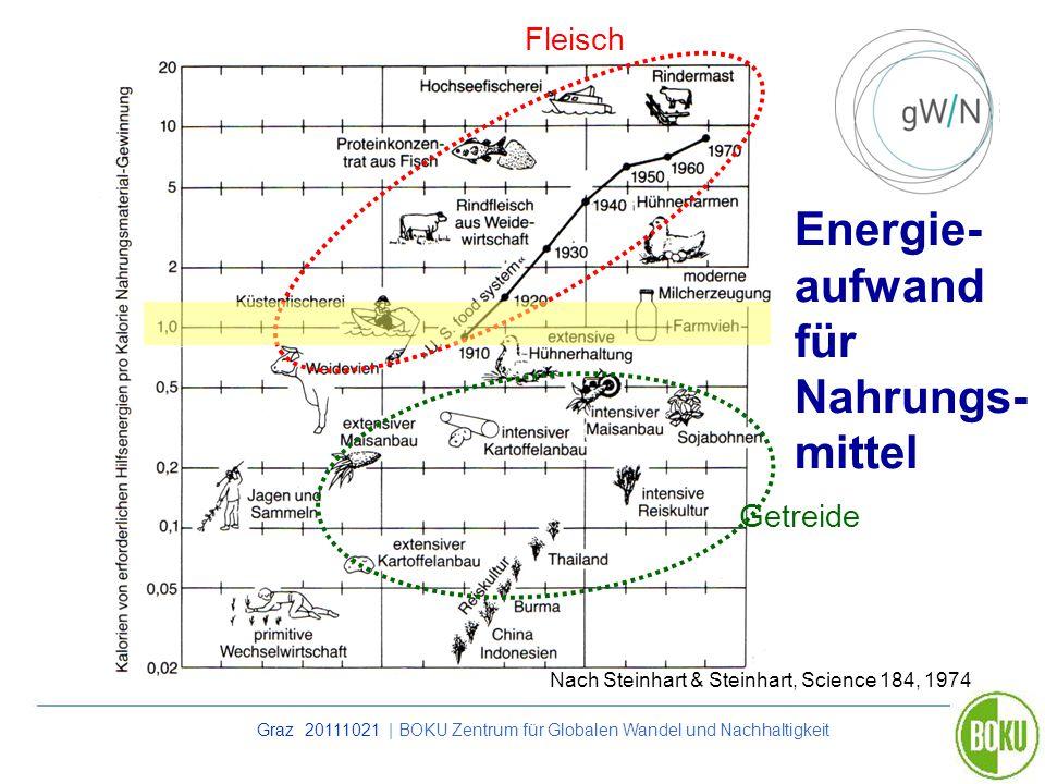 Graz 20111021 | BOKU Zentrum für Globalen Wandel und Nachhaltigkeit Energie- aufwand für Nahrungs- mittel Nach Steinhart & Steinhart, Science 184, 197