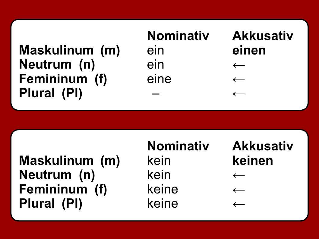 NominativAkkusativ Maskulinum (m)eineinen Neutrum (n)ein← Femininum (f)eine← Plural (Pl) ̶ ← NominativAkkusativ Maskulinum (m)keinkeinen Neutrum (n)kein← Femininum (f)keine← Plural (Pl)keine←