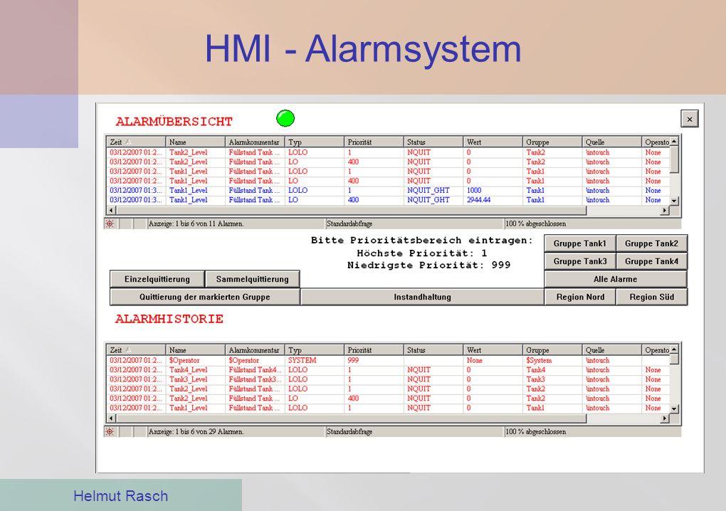 HMI - Alarmsystem Helmut Rasch ●Zur Beweissicherung können diese Alarme aufgezeichnet werden ●Alarme können nur von autorisierten Mitarbeitern quittie