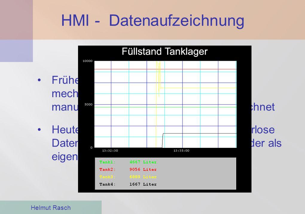 HMI - Datenaufzeichnung Helmut Rasch Heute übernehmen diese Aufgabe papierlose Datenlogger als Komponente der HMI oder als eigenständige Geräte im Net