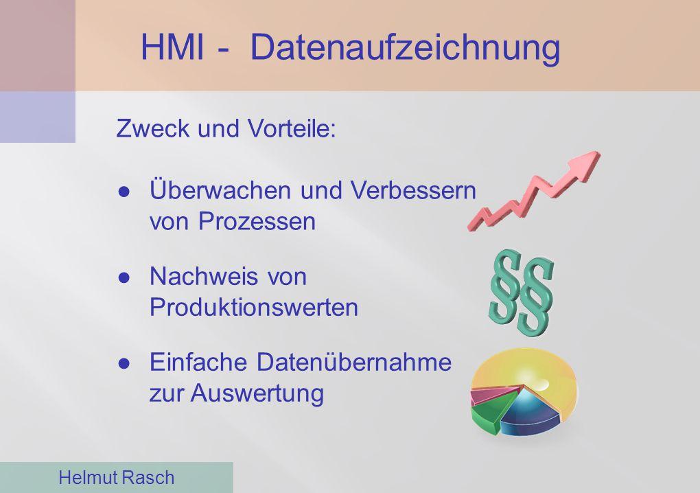 HMI - Datenaufzeichnung Helmut Rasch Zweck und Vorteile: ●Überwachen und Verbessern von Prozessen ●Nachweis von Produktionswerten ●Einfache Datenübern