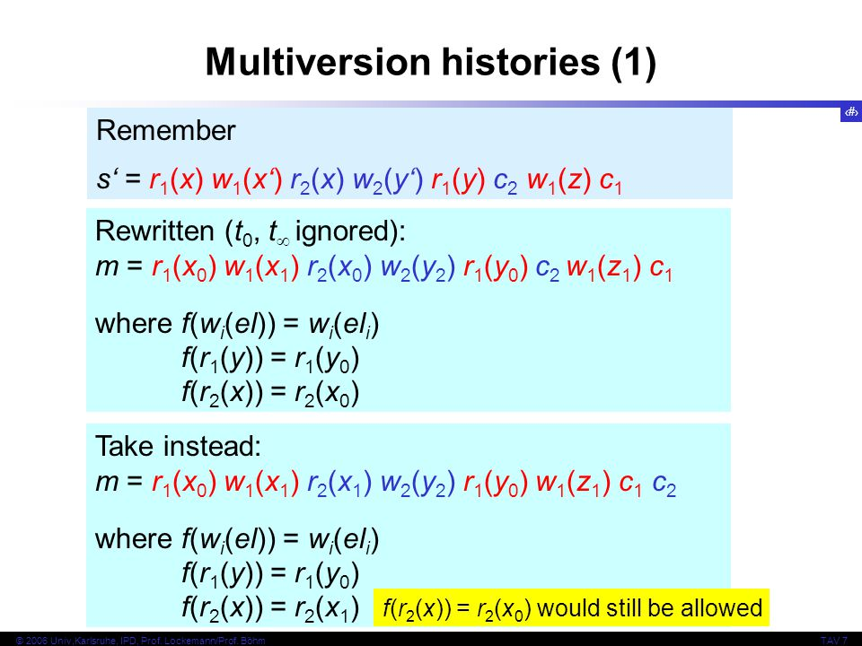 10 © 2006 Univ,Karlsruhe, IPD, Prof. Lockemann/Prof. BöhmTAV 7 Multiversion histories (1) Rewritten (t 0, t  ignored): m = r 1 (x 0 ) w 1 (x 1 ) r 2