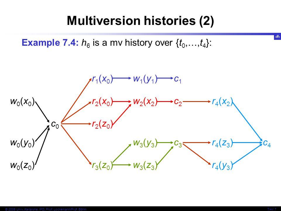 12 © 2006 Univ,Karlsruhe, IPD, Prof. Lockemann/Prof. BöhmTAV 7 Multiversion histories (2) Example 7.4: h 6 is a mv history over {t 0,…,t 4 }: r1(x0)w1
