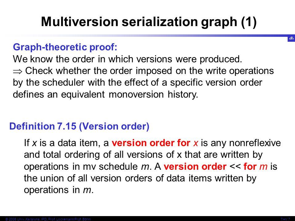 21 © 2006 Univ,Karlsruhe, IPD, Prof. Lockemann/Prof. BöhmTAV 7 Multiversion serialization graph (1) Definition 7.15 (Version order) If x is a data ite