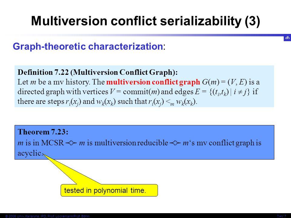 29 © 2006 Univ,Karlsruhe, IPD, Prof. Lockemann/Prof. BöhmTAV 7 Multiversion conflict serializability (3) Theorem 7.23: m is in MCSR  m is multiversi