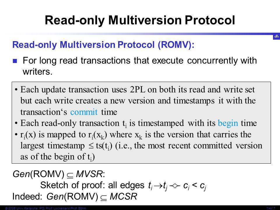 54 © 2006 Univ,Karlsruhe, IPD, Prof. Lockemann/Prof. BöhmTAV 7 Read-only Multiversion Protocol Read-only Multiversion Protocol (ROMV): For long read t