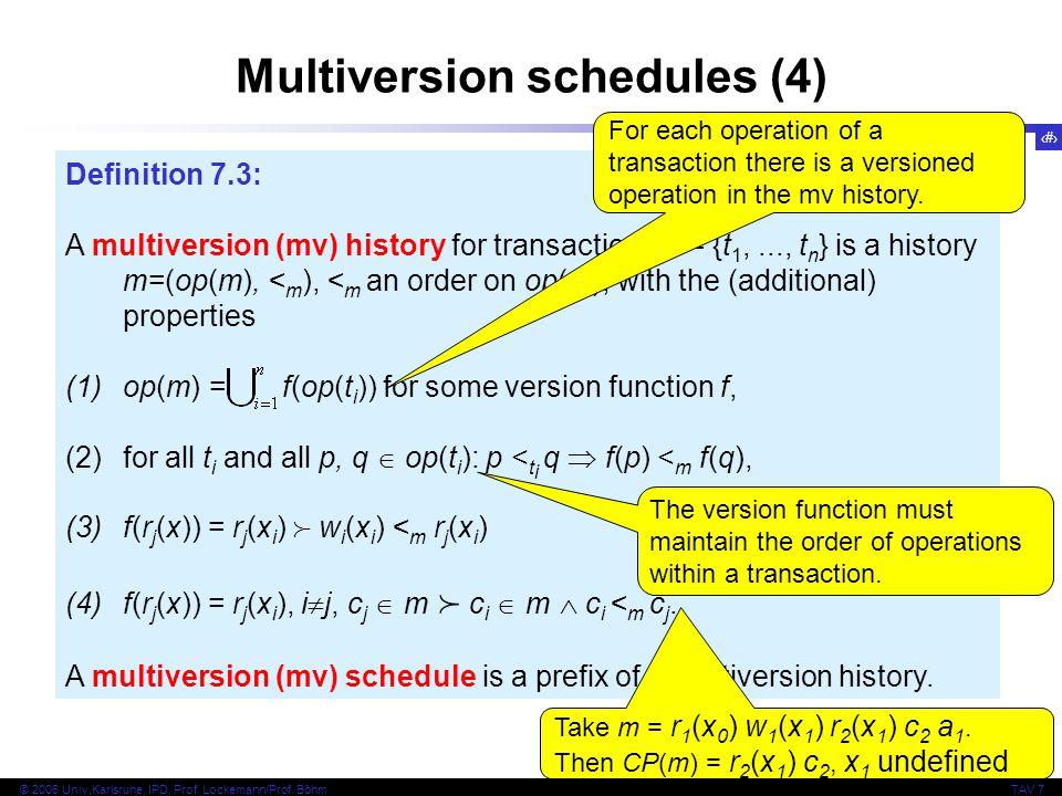 9 © 2006 Univ,Karlsruhe, IPD, Prof. Lockemann/Prof. BöhmTAV 7 Multiversion schedules (4) Definition 7.3: A multiversion (mv) history for transactions