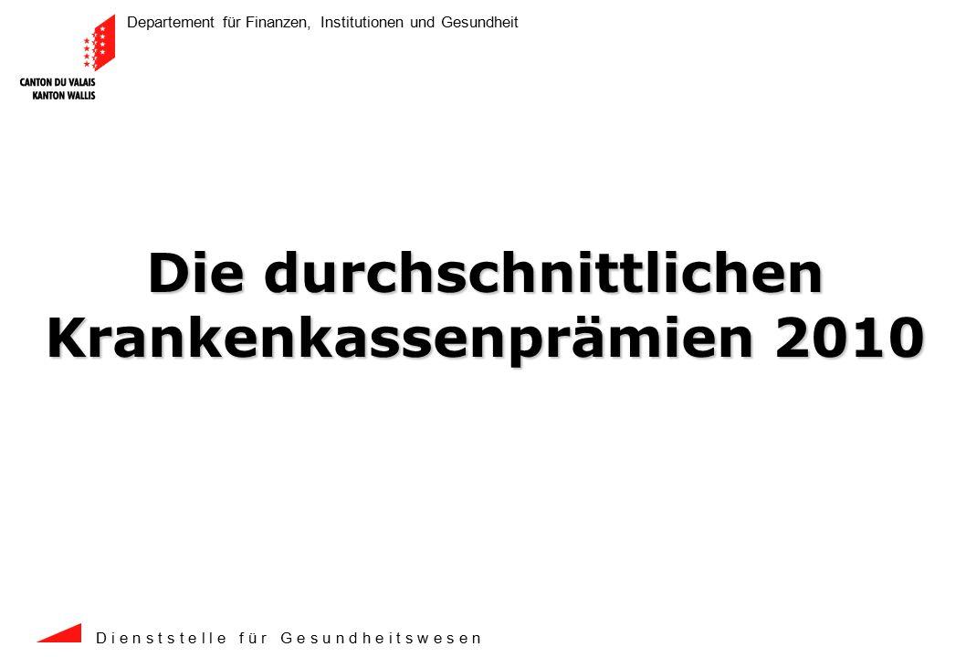 Departement für Finanzen, Institutionen und Gesundheit D i e n s t s t e l l e f ü r G e s u n d h e i t s w e s e n 2 Mit einem durchschnittlichen Anstieg von 10.0% verzeichnet das Wallis einen höheren Anstieg als der schweizerische Anstieg von durchschnittlich 8.7%.