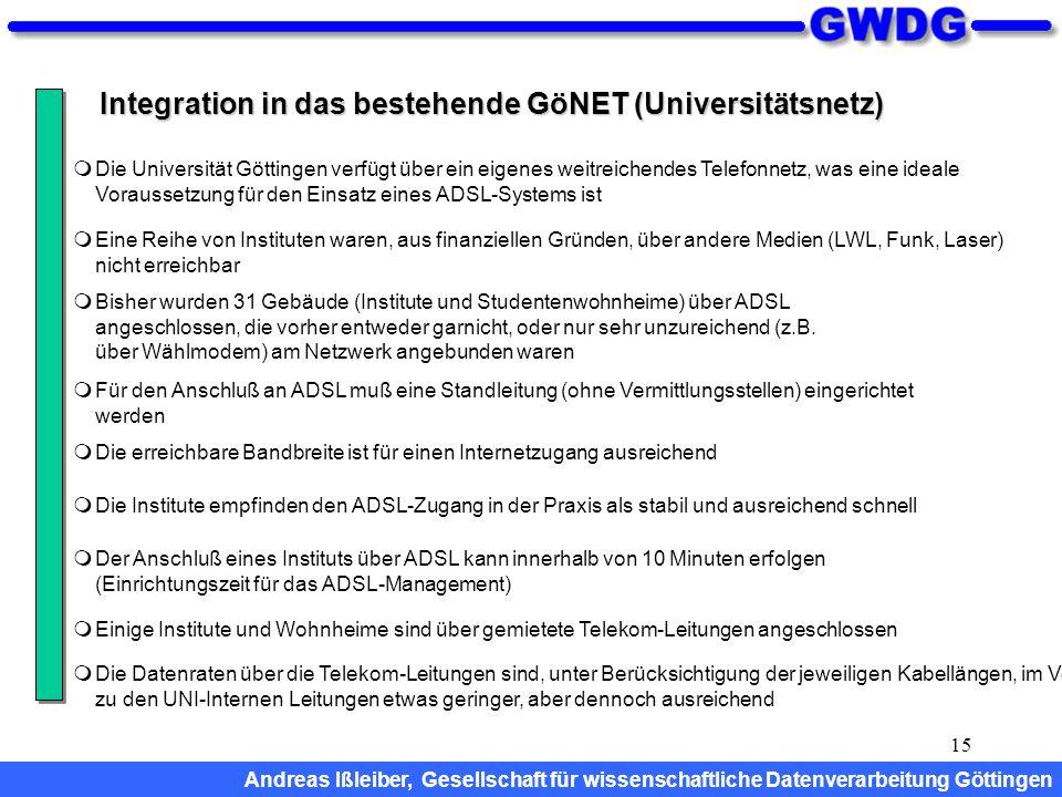 15 Integration in das bestehende GöNET (Universitätsnetz)  Bisher wurden 31 Gebäude (Institute und Studentenwohnheime) über ADSL angeschlossen, die v