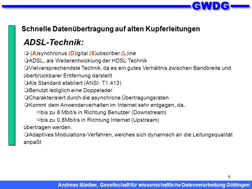6 Schnelle Datenübertragung auf alten Kupferleitungen  (A)synchronus (D)igital (S)ubscriber (L)ine  ADSL, als Weiterentwicklung der HDSL Technik  V