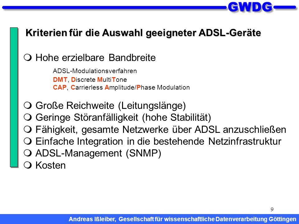 9 Kriterien für die Auswahl geeigneter ADSL-Geräte  Hohe erzielbare Bandbreite ADSL-Modulationsverfahren DMT, Discrete MultiTone CAP, Carrierless Amp
