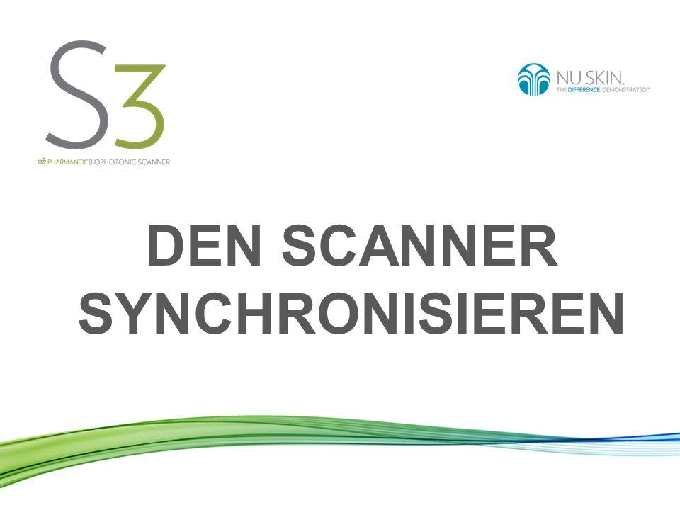Den Scanner synchronisieren heißt: Die Daten Ihrer durchgeführten Scans werden von Ihrem Scanner an den weltweiten Nu Skin Server gesendet.