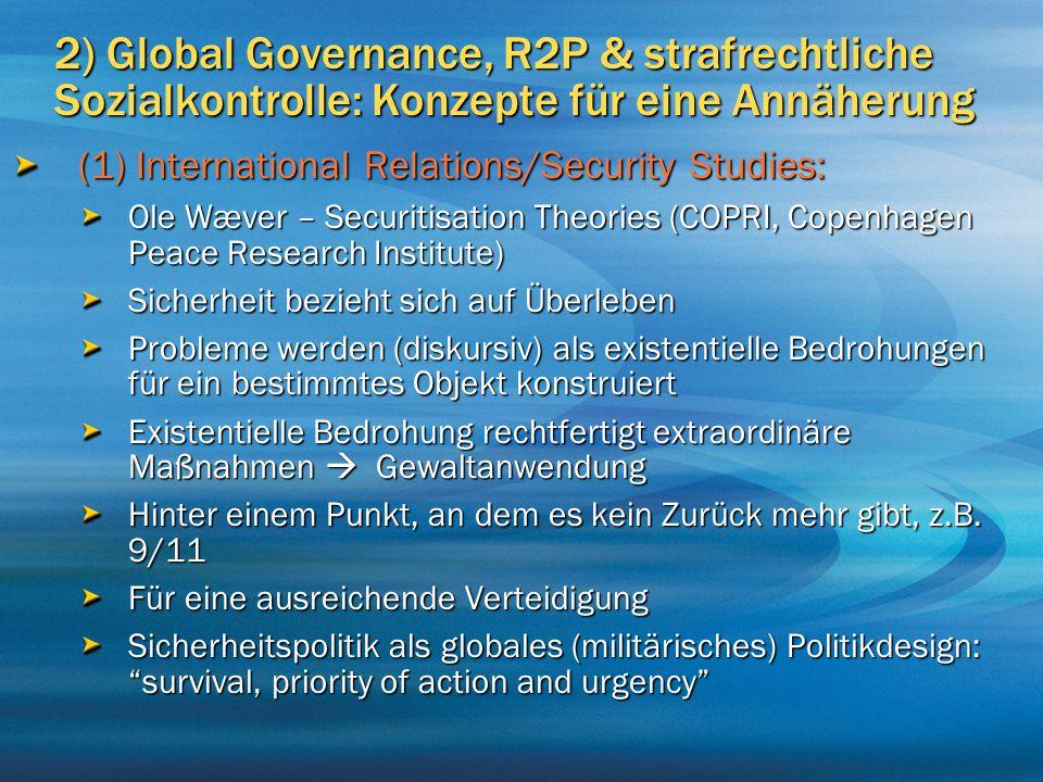 2) Global Governance, R2P & strafrechtliche Sozialkontrolle: Konzepte für eine Annäherung (1) International Relations/Security Studies: Ole Wæver – Se