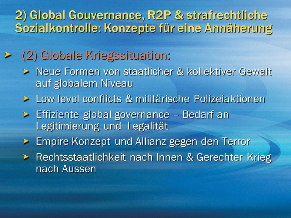 2) Global Gouvernance, R2P & strafrechtliche Sozialkontrolle: Konzepte für eine Annäherung (2) Globale Kriegssituation: Neue Formen von staatlicher &