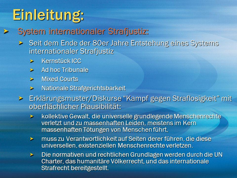 Einleitung: System internationaler Strafjustiz: Seit dem Ende der 80er Jahre Entstehung eines Systems internationaler Strafjustiz Kernstück ICC Ad hoc