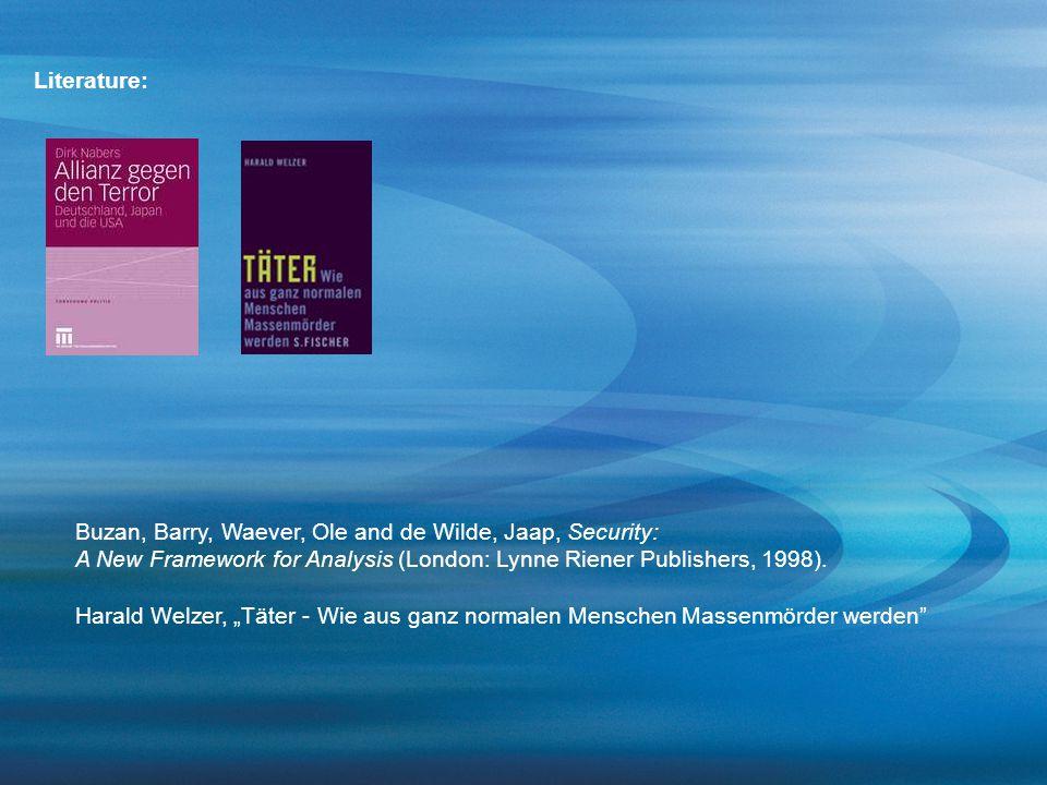 "Buzan, Barry, Waever, Ole and de Wilde, Jaap, Security: A New Framework for Analysis (London: Lynne Riener Publishers, 1998). Harald Welzer, ""Täter -"