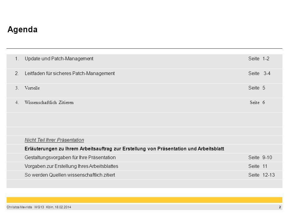3 Christos Mavridis  WG13  Köln, 18.02.2014 Update und Patch-Management > Patchen, damit Computer, Handy & Co.