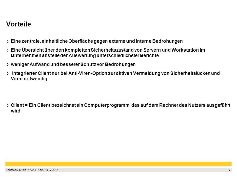 8 Christos Mavridis  WG13  Köln, 18.02.2014 Wissenschaftliches Zitieren © ProSoft Software Vertriebs GmbH: Patch Management – ProSoft, http://www.prosoft.de/produkte/shavlik/shavlik-protect/?gclid=CKin2Ka9ir0CFerpwgodKD4Aug http://www.prosoft.de/produkte/shavlik/shavlik-protect/?gclid=CKin2Ka9ir0CFerpwgodKD4Aug 11.03.2014 Bundesamt für Sicherheit in der Informationstechnik, https://www.bsi-fuer- buerger.de/BSIFB/DE/MeinPC/UpdatePatchManagement/updatePatchManagement_node.htmlhttps://www.bsi-fuer- buerger.de/BSIFB/DE/MeinPC/UpdatePatchManagement/updatePatchManagement_node.html 11.03.2014