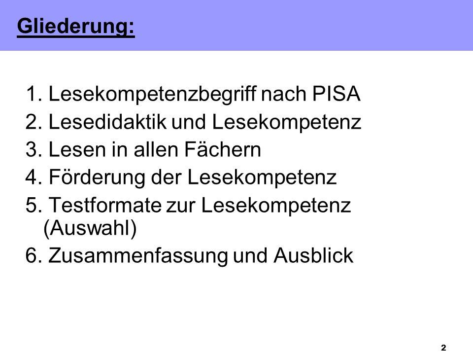 2 1.Lesekompetenzbegriff nach PISA 2. Lesedidaktik und Lesekompetenz 3.