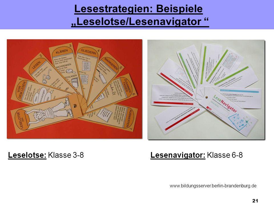 "21 Lesestrategien: Beispiele ""Leselotse/Lesenavigator "" Leselotse: Klasse 3-8Lesenavigator: Klasse 6-8 www.bildungsserver.berlin-brandenburg.de"