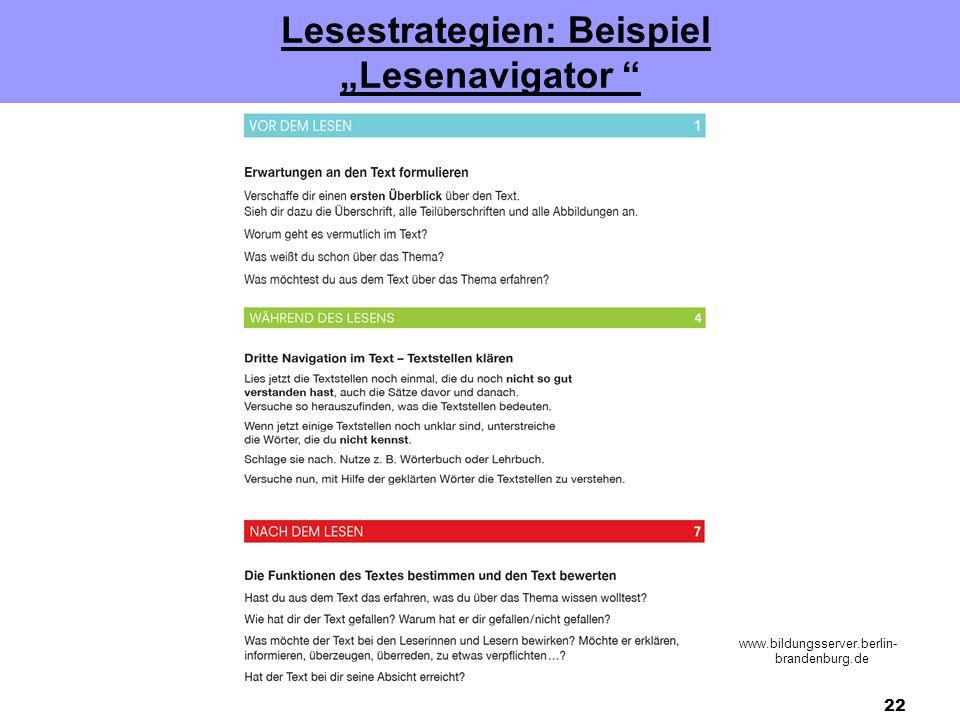 """22 Lesestrategien: Beispiel """"Lesenavigator www.bildungsserver.berlin- brandenburg.de"""