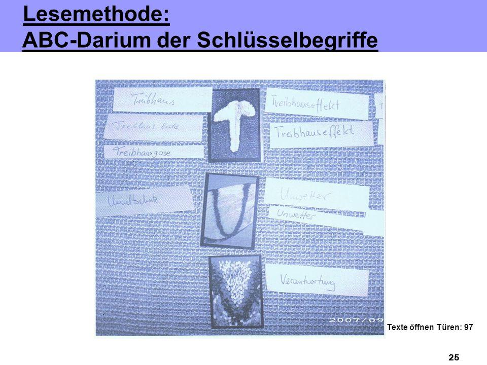 25 Lesemethode: ABC-Darium der Schlüsselbegriffe Texte öffnen Türen: 97