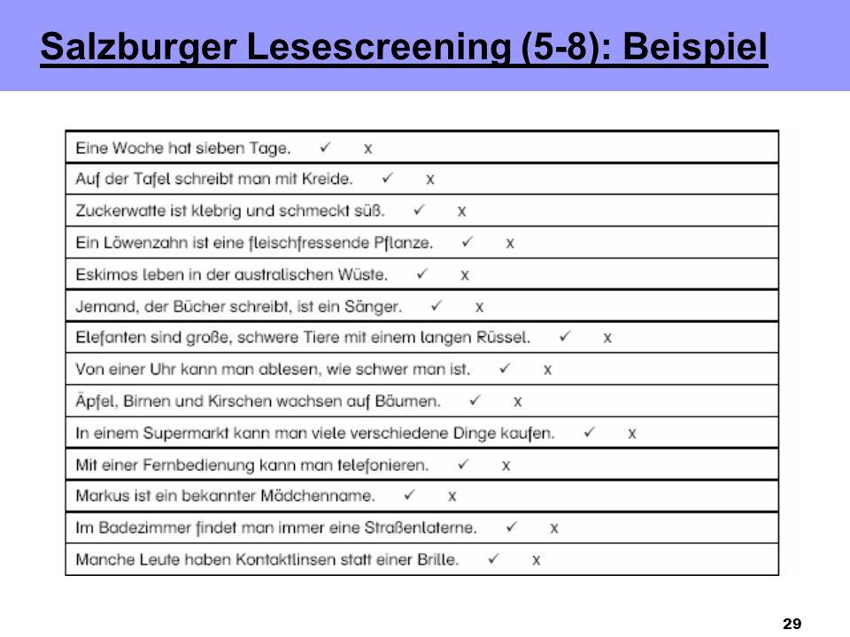 29 Salzburger Lesescreening (5-8): Beispiel