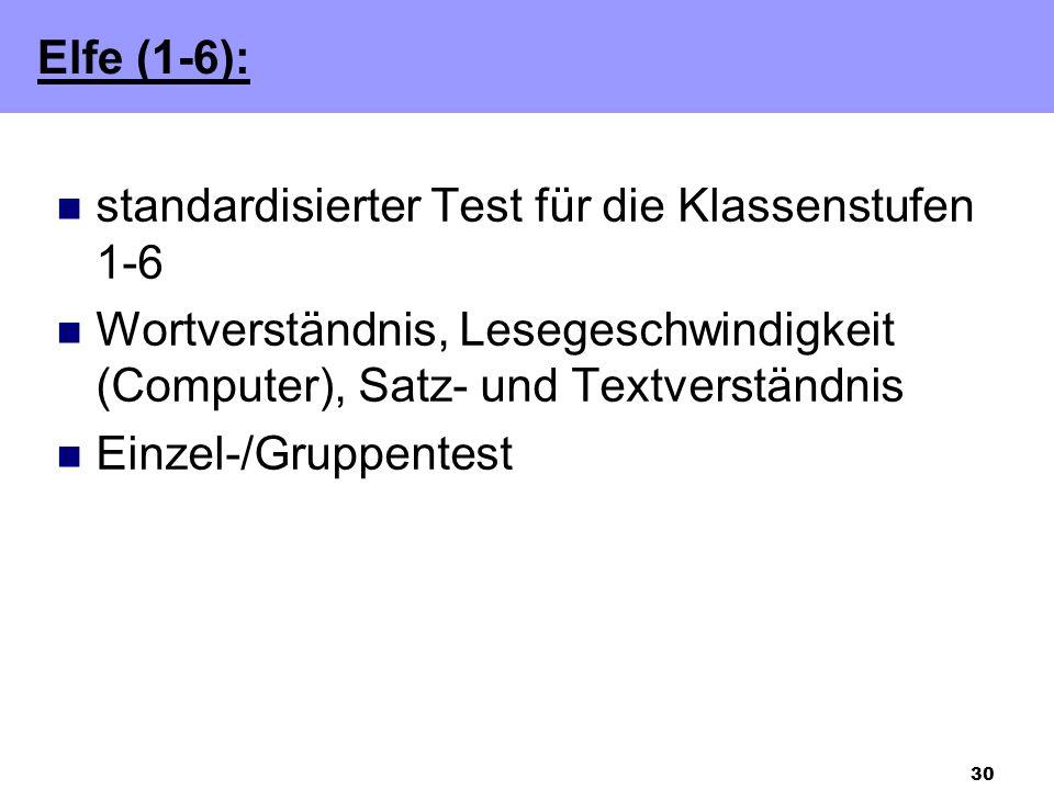 30 standardisierter Test für die Klassenstufen 1-6 Wortverständnis, Lesegeschwindigkeit (Computer), Satz- und Textverständnis Einzel-/Gruppentest Elfe