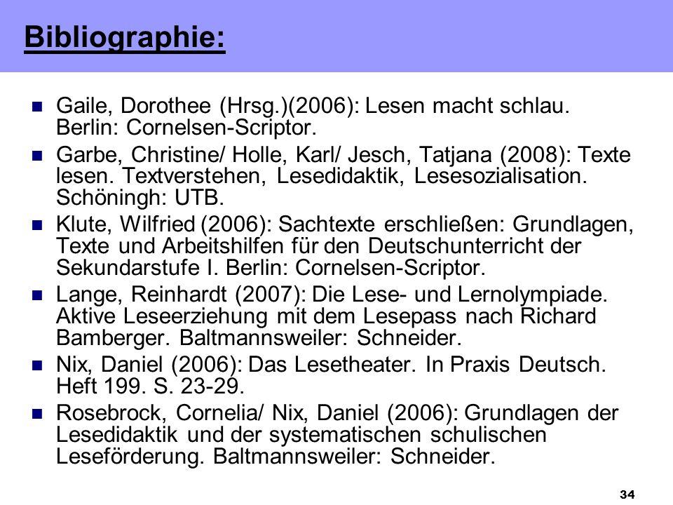 34 Gaile, Dorothee (Hrsg.)(2006): Lesen macht schlau. Berlin: Cornelsen-Scriptor. Garbe, Christine/ Holle, Karl/ Jesch, Tatjana (2008): Texte lesen. T