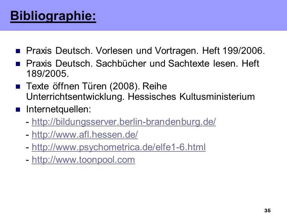 35 Praxis Deutsch.Vorlesen und Vortragen. Heft 199/2006.