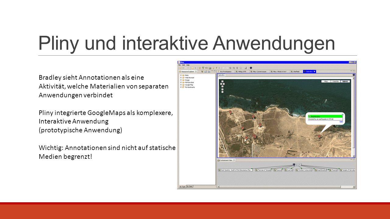 Pliny und interaktive Anwendungen Bradley sieht Annotationen als eine Aktivität, welche Materialien von separaten Anwendungen verbindet Pliny integrie