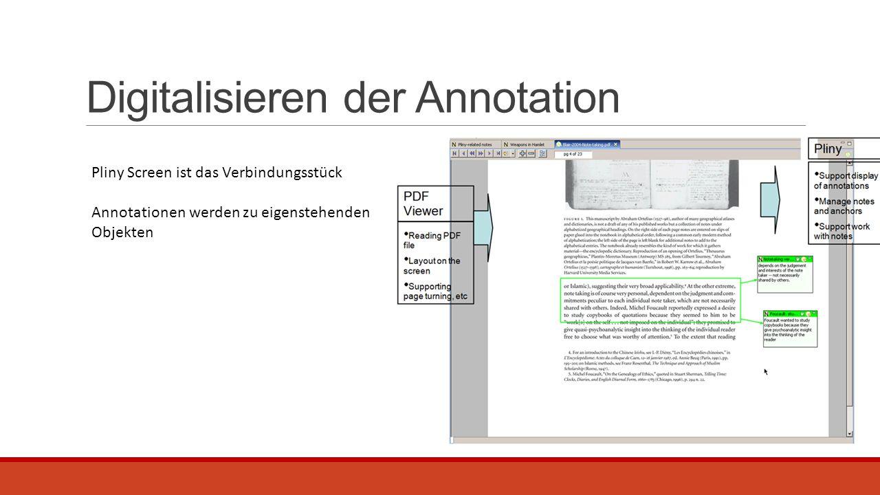 Digitalisieren der Annotation Pliny Screen ist das Verbindungsstück Annotationen werden zu eigenstehenden Objekten