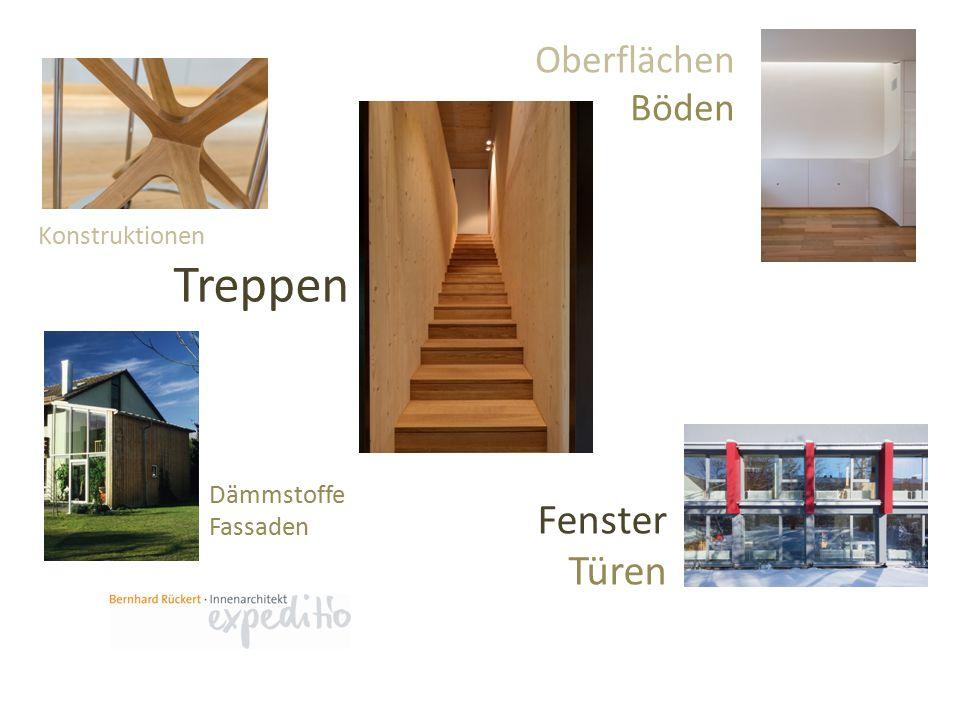Konstruktionen Oberflächen Böden Treppen Fenster Türen Dämmstoffe Fassaden
