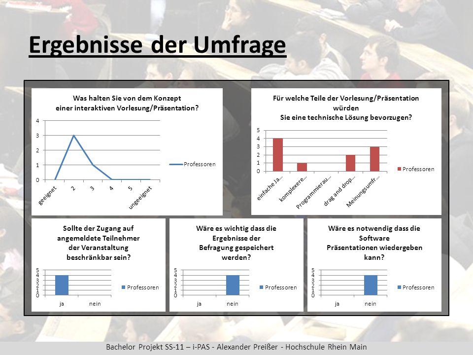 Bachelor Projekt SS-11 – i-PAS - Alexander Preißer - Hochschule Rhein Main Ergebnisse der Umfrage