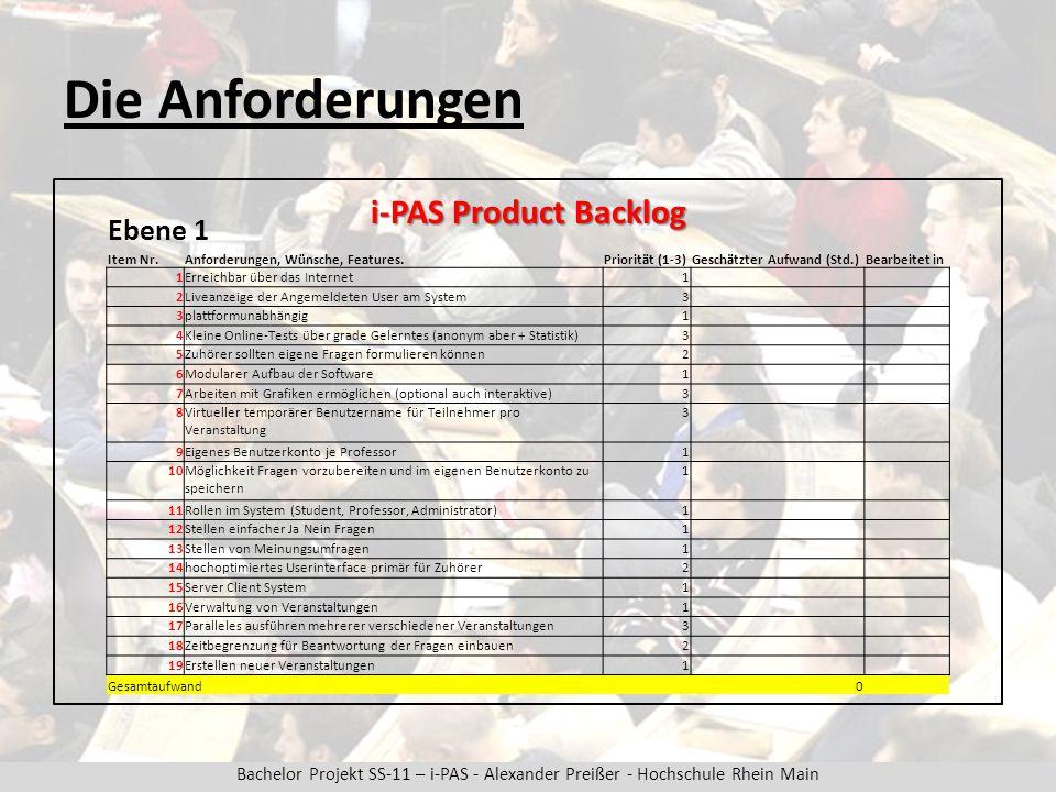 Bachelor Projekt SS-11 – i-PAS - Alexander Preißer - Hochschule Rhein Main Die Anforderungen i-PAS Product Backlog Ebene 1 Item Nr.Anforderungen, Wünsche, Features.Priorität (1-3)Geschätzter Aufwand (Std.)Bearbeitet in 1Erreichbar über das Internet1 2Liveanzeige der Angemeldeten User am System3 3plattformunabhängig1 4Kleine Online-Tests über grade Gelerntes (anonym aber + Statistik)3 5Zuhörer sollten eigene Fragen formulieren können2 6Modularer Aufbau der Software1 7Arbeiten mit Grafiken ermöglichen (optional auch interaktive)3 8Virtueller temporärer Benutzername für Teilnehmer pro Veranstaltung 3 9Eigenes Benutzerkonto je Professor1 10Möglichkeit Fragen vorzubereiten und im eigenen Benutzerkonto zu speichern 1 11Rollen im System (Student, Professor, Administrator)1 12Stellen einfacher Ja Nein Fragen1 13Stellen von Meinungsumfragen1 14hochoptimiertes Userinterface primär für Zuhörer2 15Server Client System1 16Verwaltung von Veranstaltungen1 17Paralleles ausführen mehrerer verschiedener Veranstaltungen3 18Zeitbegrenzung für Beantwortung der Fragen einbauen2 19Erstellen neuer Veranstaltungen1 Gesamtaufwand 0