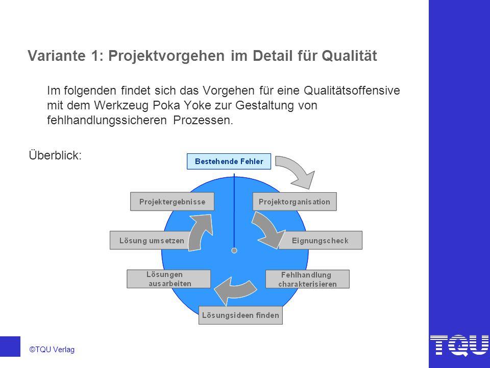 ©TQU Verlag Variante 1: Projektvorgehen im Detail für Qualität Im folgenden findet sich das Vorgehen für eine Qualitätsoffensive mit dem Werkzeug Poka