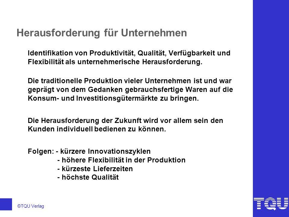 ©TQU Verlag Herausforderung für Unternehmen Identifikation von Produktivität, Qualität, Verfügbarkeit und Flexibilität als unternehmerische Herausford
