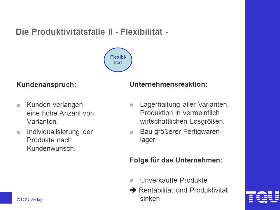 ©TQU Verlag Die Produktivitätsfalle III - Qualität - Kundenanspruch: n Kunde verlangt makellose, funktionstüchtige Produkte.